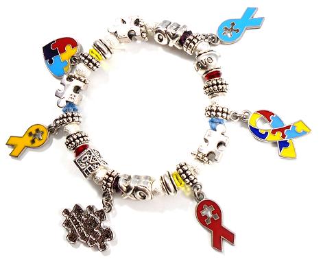 Autism Awareness Charm Bracelet With Swarovski Crystals