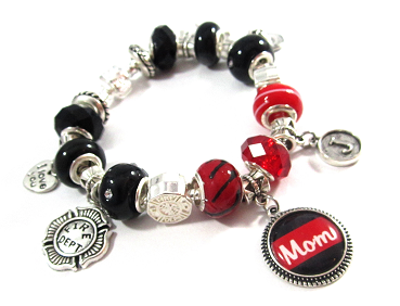 861f3c10f9ef7 Firefighter - Personalized Red Line Snake Chain Charm Bracelet