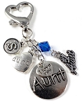 #1 Aunt Purse Charm with Swarovski Birthstone Crystal