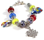 Autism Awareness Snake Chain Charm Bracelet