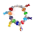 Autism Awareness Snake Chain Ribbon Charm Bracelet