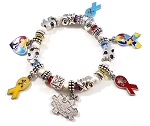 Autism Awareness Charm Bracelet with Swarovski Crystals