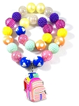Back to School Chunky Bubblegum Necklace & Bracelet Set