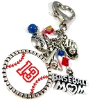 Swarovski Pearls & Crystals Custom Baseball Aunt, Mom, Grandma Purse Dangle