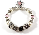 Freshwater Pearls & Swarovski Crystals Personalized Name Baby Bracelet