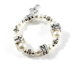 Swarovski Pearls - Baptism, Communion or Confirmation Bracelet with Initial