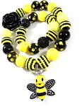 Bumble Bee Chunky Bubblegum Necklace & Bracelet Set