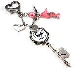 Customized Cancer Awareness Heart Key with Swarovski Pearls