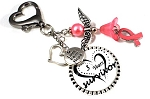 Customized Cancer Awareness Key Chain Dangle with Swarovski Pearls