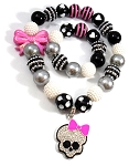 Pink & Black Halloween Chunky Bubblegum Necklace & Bracelet Set