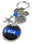 Sheriff's Deputy - Personalized St. Michael Thin Blue Line Purse Charm or Key chain with Swarovski Crystal