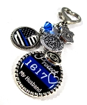 Police - Personalized St. Michael Thin Blue Line Purse Charm or Key chain with Flag & Swarovski Crystal