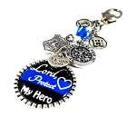 Police - Personalized St. Michael Thin Blue Line Purse Charm or Keychain with Swarovski Crystal