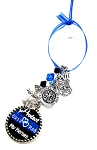 Police Officer - Personalized St. Michael Thin Blue Line Christmas Ornament with Black & Blue Swarovski Crystals
