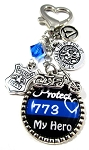 Police Motorcycle ~ Personalized St. Michael Thin Blue Line Purse Charm or Keychain with Swarovski Crystal