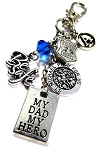 Police - 'MY DAD MY HERO' St. Michael Thin Blue Line Purse Charm or Key chain with Swarovski Crystal