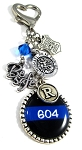 Police - Personalized St. Michael Thin Blue Line Purse Charm or Key chain with Swarovski Crystal