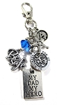 Sheriff  - 'MY DAD MY HERO' St. Michael Thin Blue Line Purse Charm or Key chain with Swarovski Crystal