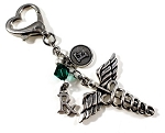 Personalized Caduceus Rx ~ Pharmacist ID Holder charm with Swarovski Birthstone