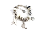 Personalized Cancer Awareness Snake Chain Charm Bracelet
