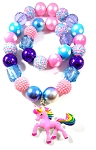 Cotton Candy Unicorn Chunky Bubblegum Necklace & Bracelet Set