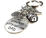 Customized #1 Dad Key Chain Dangle for Firemen