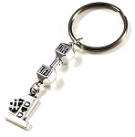 #1 DAD ~ Dumbbell Gym Keytag Holder, Key chain or Gym Bag Zipper Pull