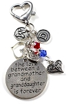 Grandmother / Granddaughter Key chain / Purse Charm with Swarovski Birthstone Crystals
