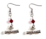 Graduate Diploma Earrings with Swarovski Birthstone Crystal