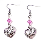 2018 Graduation Heart Earrings with Swarovski Birthstone Crystal