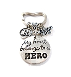 Military ~ 'My Heart Belongs to a HERO' Personalized Key chain