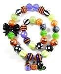 Purple, Black, Orange & Green Halloween Chunky Bubblegum Necklace & Bracelet Set