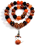 Black & Orange Halloween Chunky Bubblegum Necklace & Bracelet Set