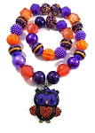 Purple, Black & Orange Halloween Chunky Bubblegum Necklace & Bracelet Set