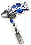 I CAN ~ Dumbbell Gym Keytag Charm or Zipper Pull with Swarovski Birthstone Crystal