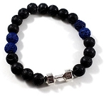 Lava Bead Dumbbell Bracelet handmade with Real Volcanic Lava Rock !