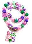 Big Sis / Lil Sis Chunky Bubblegum Necklace & Bracelet Set