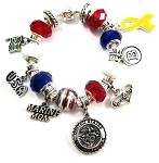 Personalized Marine Mom / Wife Charm Bracelet