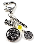 Marine Corps Mom/Wife/Grandma Purse Charm with Swarovski Crystal
