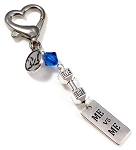 Me Vs Me ~ Dumbbell Gym Keytag Charm or Zipper Pull with Swarovski Birthstone Crystal