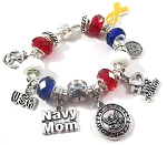 Personalized Navy Mom / Wife Charm Bracelet