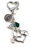 Personalized Nurses ID Holder charm with Swarovski Birthstone Crystal