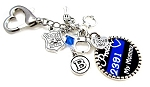 Police Officers Kid - Personalized St. Michael Thin Blue Line Key Chain or Zipper Pull with Blue Swarovski Crystal
