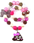 Emoji Poop or Pirate Chunky Bubblegum Necklace & Bracelet Set