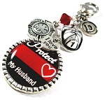 Firefighter - Personalized Red Line Purse Charm or Key chain with Swarovski Crystal
