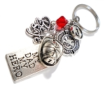 Firefighter - 'MY DAD MY HERO' Red Line Purse Charm or Key chain with Swarovski Crystal