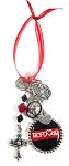 Firefighter - Personalized Red Line Christmas Ornament with Black & Red Swarovski Crystals