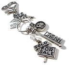 Realtor Dream Key chain or Purse Charm with Swarovski  Birthstone Crystal