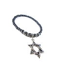 Stainless Steel Star of David Necklace handmade with Hematite Beads