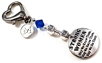 Strong Women ~ Dumbbell Gym Keytag Charm or Zipper Pull with Swarovski Birthstone Crystal